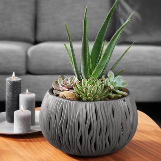 "Planter ""Sand Waves"" Considerably lighter and more durable. Made of sturdy, recyclable polypropylene."