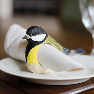 Napkin Rings Birds, Set of 6 Your feathered friends - as enchanting napkin rings made of wood, handmade.