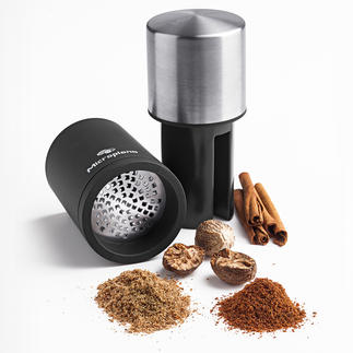 Microplane® Nutmeg Mill Grinds the hard kernels to a fine powder. Until the very last.