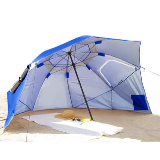 Beach-­Brella Enormous sunshade, with wind and rain protection at the same time.