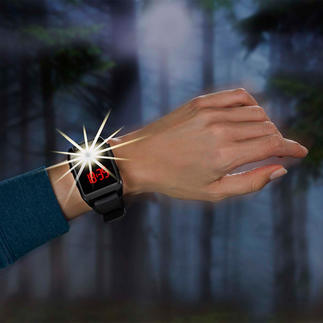 120dB Alarm Wristwatch Activated by the tip of a finger in case of emergency.