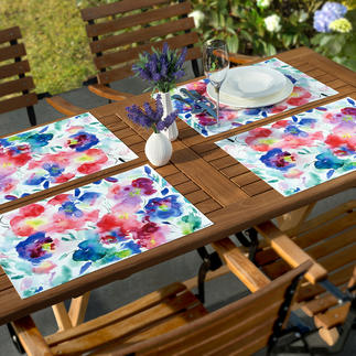 Watercolour Placemats, Set of 6 Placemats with trendy floral motifs. Lastingly beautiful and robust, a friend for every day.