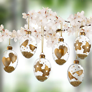 Glass Easter Eggs with Gold Motifs, Set of 6 pieces Finely decorated by hand with floral, bird and heart motifs on the outside. Inside filled with shimmering gold pellets.