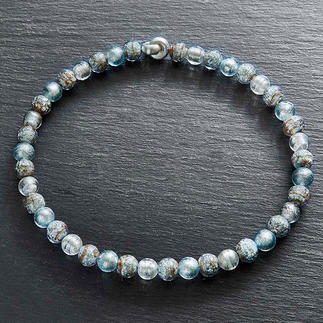 Murano Beaded Necklace Venetian splendour: Shimmering white gold, embedded in luxurious Murano glass beads.
