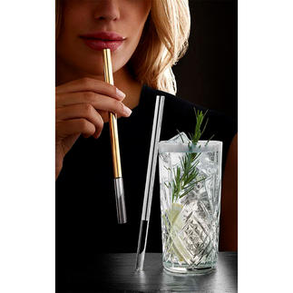 Luxurious Glass Drinking Straws A luxurious alternative to drinking straws: Stylishly finished with platinum or gold.