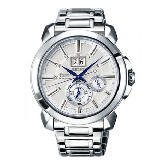 Seiko Premier Kinetic Perpetual Men's Watch SNP159P1 Energy-saving Auto Relay feature eliminates the need for watch winders, manual winding and re-setting.