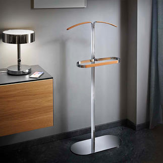Clothes Valet Practical helper and also an elegant sculpture. Made of chromed steel and leather.