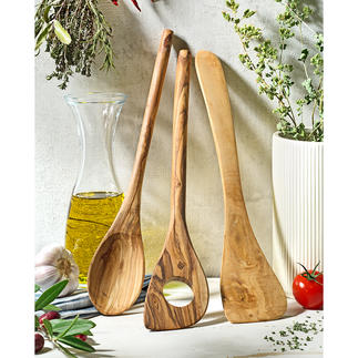Olive Wood Cooking Utensils, Set of 3 Made by hand for lasting beauty. Protects delicate non-stick coatings.
