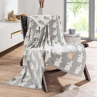 Hare Blanket with Metallic Hare Elaborately crafted double-layered knit, with a subtle humorous touch.
