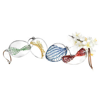 Glass Net Easter Eggs, Set of 4 Premium glassblowing artistry for your Easter decor. Each piece is unique.
