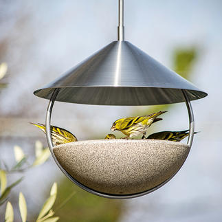 Hanging Bird Bath Luca Open all around for unrestricted flying in and out. Made of Granicium®.