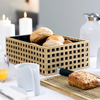 Oak Wood Bread Bin Airy yet keeps crumbs inside. Made from exquisite oak with a lattice structure. The wooden lid is also a serving and cutting board.