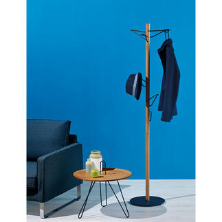 Coat Stand Elegant oak and black metal design. And a true space-saving miracle.