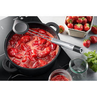 Silicone Cooking Spoon 2-in-1 Elegant stainless steel design with silicone flap that is gentle on surfaces.
