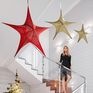 XXL Fabric Star Hugely effective: Elegant fabric-covered glitter star in XXL size.