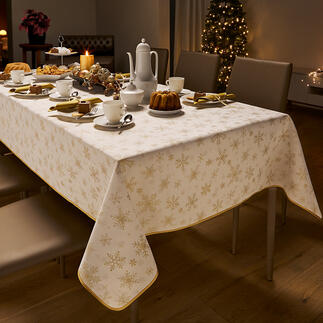 Damask Christmas Tablecloth Festive, but not too loud. With an intricately woven edge and sparkling snowflakes.