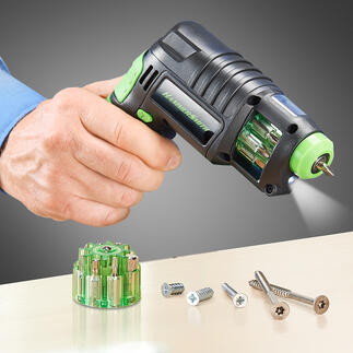 3-in-1 Cordless Drill Driver Instead of centre punches, drills and cordless screwdrivers just one condensed universal tool.