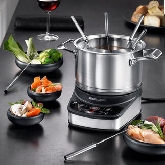 Rommelsbacher Electric Fondue Set F1200 The new generation of electric fondues: Safer and more practical with 3 pre-set programmes and electronic temperature control.