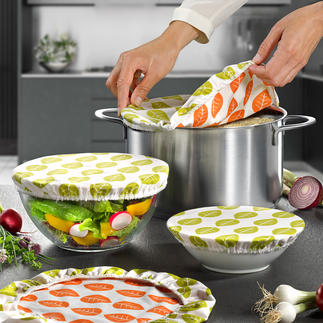 Cotton Food-Preserving Covers Sustainable cotton covering, to replace plastic film or aluminium foil. Naturally. Saves resources. Always re-usable.