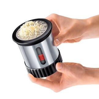 Stainless Steel Butter Mill Delicious butter straight from the fridge – can be spread in fine streaks right onto your bread.