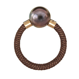Tahiti Ring or Bracelet, Rose Gold Exquisite, modern design made of Tahiti cultured pearls, real gold, sterling silver and nylon.
