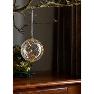 Glass Bauble with micro LEDs A beautiful and magical light – in bang up-to-date tinted glass.