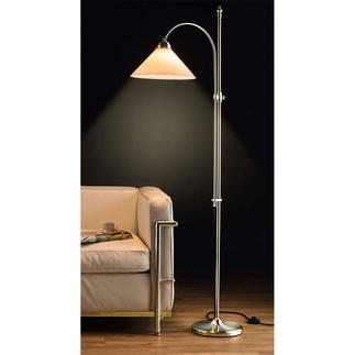 Berlin Brass Floor Lamp Still made the traditional way – in brass and with mouth blown opal glass. Energy label: Lamp A++ to E.