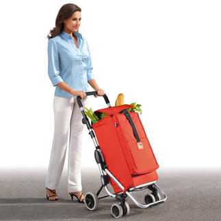 "Shopping Caddy ""Go up"" Push don't pull. Lightweight with a huge capacity. With a separate ""freezer compartment""."