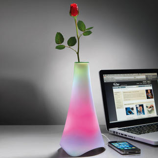 Musical Light Vase Light sculpture. Elegant vase. Mobile loudspeaker. With alternating colours.