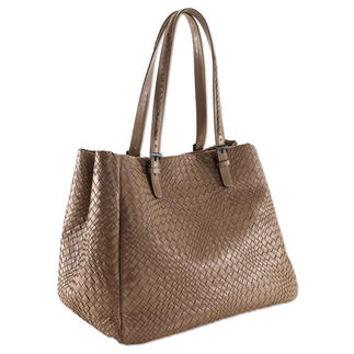 Fontanelli Woven Lamb Nappa Handbag, Taupe Hand woven and hand sewn. Made from buttery soft lamb nappa.