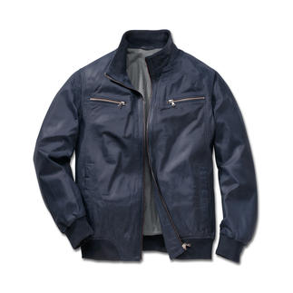 Blue Summer Leather Aviator Jacket The perfect leather aviator jacket for summer: Made from soft lamb nappa leather in a fresh blue.