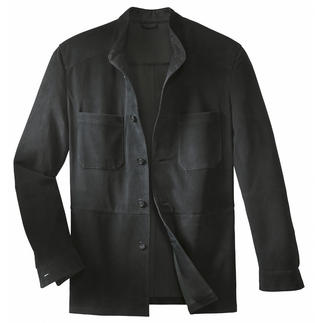 Reindeer Calf Leather Shirt Jacket A decent leather jacket – as light as a shirt. Weighs a mere 23 ounces.