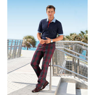"Linen Glen Check Trousers ""Ormezzano"" Elegant glen check trousers – finally in a cool, light and airy version."
