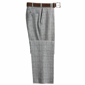 Bottoli's Glen Plaid Linen Trousers Goes with almost anything in your wardrobe.