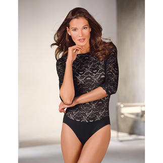 Sariana Lace Body This opaque lace body even works with a business blazer. Perfect cut. Nice comfy fit. Great price.
