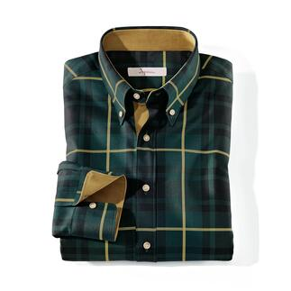 Ingram Tartan Shirt Classy enough to wear with elegant sports jackets. Muted colours. Fine fabric. Exquisite details.