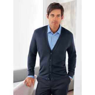 Phil Petter Merino Silk Cardigan Fine. Lightweight. Not too warm. The perfect year-round cardigan. Ideal under a sports jacket, too.