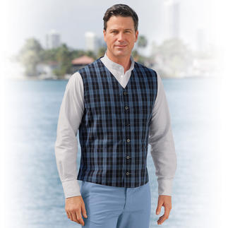 Hollington Summer Check Waistcoat Indestructible design. The genuine Patric Hollington waistcoat.