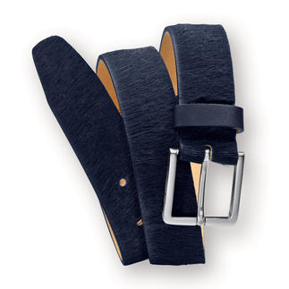 L'Aiglon Cowhide Belt More unusual than a black business belt. (But just as versatile.) Perfect in midnight blue. Silky cowhide.
