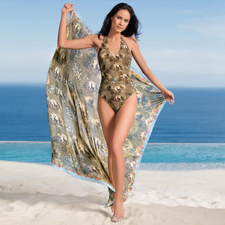 """Lola Paltinger Reversible Swimsuit or Pareo """"Wildlife"""" The centre of attention at the pool: Swimsuit and pareo with Alpine themed animal print."""