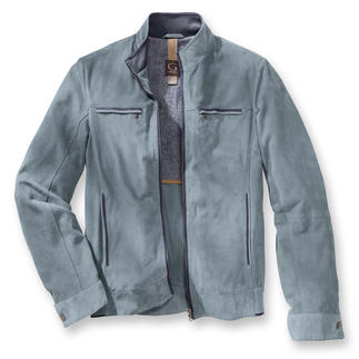 Kidskin Leather Summer Blouson Jacket Exceptionally airy: The blouson jacket in perforated kidskin suede. A mere 23 ounces.