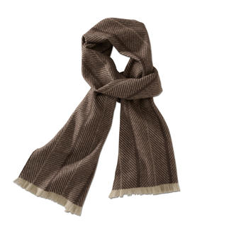 Johnstons Herringbone Cashmere Scarf A classic with a trendy oversized pattern. Timeless herringbone