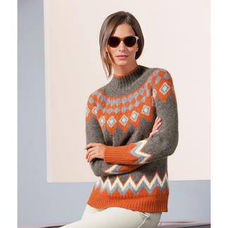 Baby Alpaca Norwegian Jumper, Orange/Grey/Beige Designed in Norway. Knitted in South America. Modern shapes and colours. By Clark Ross, the alpaca specialist.