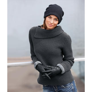 neyo 8-Ply Cashmere Jumper Luxurious 8-ply cashmere with a stylish twist. Boxy. Horizontal ribbing. Asymmetrical collar.