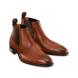 "Carlos Santos Chelsea Boots ""Low-Cut"" A fashionably updated classic. Chelsea boots with a low shaft. Made with a Goodyear welt by Carlos Santos."