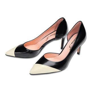 Anna F. Cut-Out Court Shoes, Black/Cream Probably the most summery version of the classic court shoe.