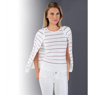 Smedley Striped Twin Set, pink/violet Pure luxury in precious Sea Island cotton. Trendy colours, trendy stripes.