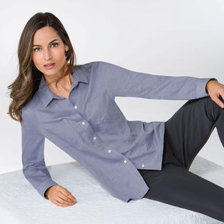 Cotton/Cashmere Blouse Denim-style blouse with a soft cashmere touch. A versatile piece that looks great with jeans or smart trousers.