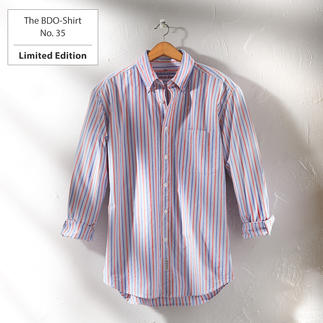 The BDO-Shirt No. 35, striped Meet a good old friend. And forget that shirts always need ironing.