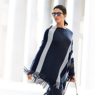 "Minnie Rose ""Blue Stripes"" Cashmere Poncho A worthwhile fashion investment. A current fashion highlight with the potential to become a classic."